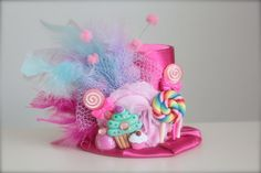 Hot Pink Candy Party - Candyland inspirado con Cupcakes Gomita y piruletas cumpleaños Mini Top Hat diadema (o fascinator)