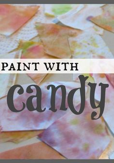 Paint with candy! Try these candy experiments - talk about color, sugar, and use leftover Halloween candy for LEARNING--not eating!  This paint with candy activity is a great idea for a fun science indoor activity for a rainy day! #teachmama #learnandplay #indoorfun #whattodowithcandy #kitchenscience #candyscience #kidsactivities #rainydayactivity #acivity #kidfun