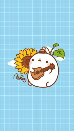 Molang sings a song dedicated to the sun flower. Wallie for your cellie. Kawaii Drawings, Cartoon Drawings, Cute Drawings, Cute Panda Wallpaper, Kawaii Wallpaper, Kawaii Doodles, Cute Doodles, Kawaii Bunny, Kawaii Cute