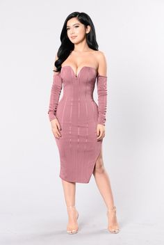 - Available in Mauve - Midi Dress - Side Slit - Off Shoulder - Wired V Neckline - Long Sleeve - Lined - Made in USA - 96% Polyester 4% Spandex