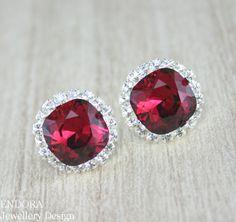 Ruby red earrings,Ruby earring,Swarovski crystal earring,Red earrings,Halo,Red bridesmaid wedding,Square crystal earrings,ruby birthstone