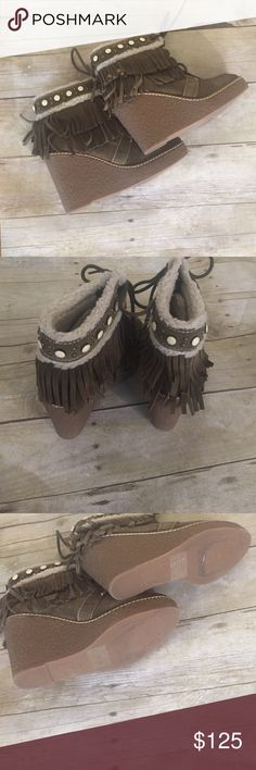 🎉HP🎉SAM EDELMAN NWT ankle boots size 5 olive Just in Sam Edelman olive ankle boots with fringe, fuzzy lining, jewels size 5 NWT 4.5 shaft 4 inch heel. Sam Edelman Shoes Ankle Boots & Booties