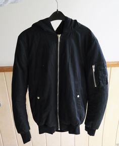 RICK OWENS DRKSHDW MA-1 flight hooded bomber jacket hoodie black 14FW Cotton M in Kleidung & Accessoires, Herrenmode, Jacken & Mäntel | eBay 451€
