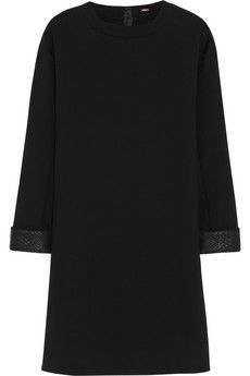 ADAM LIPPES leather-trimmed stretch-cotton sweatshirt dress (black) S/S 14 by www.giulialoves.com