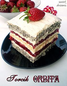Torcik ORBITA Polish Desserts, Polish Recipes, No Bake Desserts, Delicious Desserts, Baking Recipes, Cake Recipes, Dessert Recipes, Baking Cupcakes, Cupcake Cakes