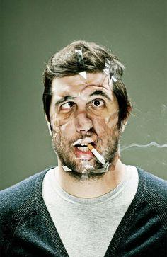 Fotógrafo estica rostos com fita adesiva