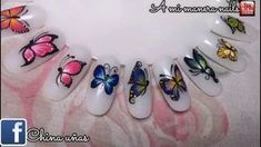 Easy one stroke butterfly nail art tutorial Trendy Nail Art, Cool Nail Art, Love Nails, Fun Nails, Josi, Butterfly Nail Art, Nagellack Design, Nail Designs Spring, Super Nails