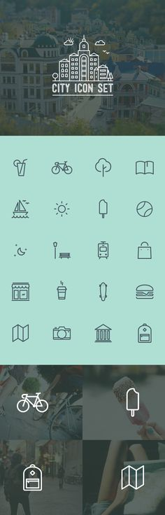 City icon set by Eugene Maksymchuk, via Behance
