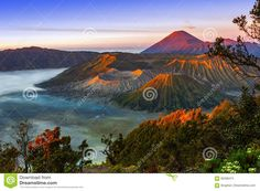 Volcanoes In Bromo Tengger Semeru National Park At Sunrise. Java Stock Photo - Image of park, sunrise: 95298474 Volcanoes, My Eyes, Climbing, Mystic, Sunrise, National Parks, Earth, Stock Photos, Adventure