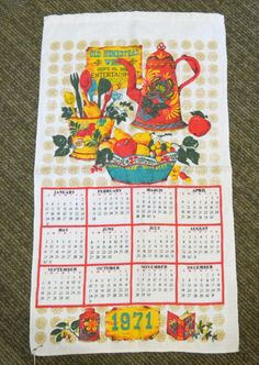 Vintage 1971 Calendar tea towel kitchen linen by GreenCabinStudios 1970s Childhood, Childhood Games, My Childhood Memories, Sweet Memories, Print Calendar, Calendar Design, Retro Vintage, Vintage Items, Vintage Kitchen