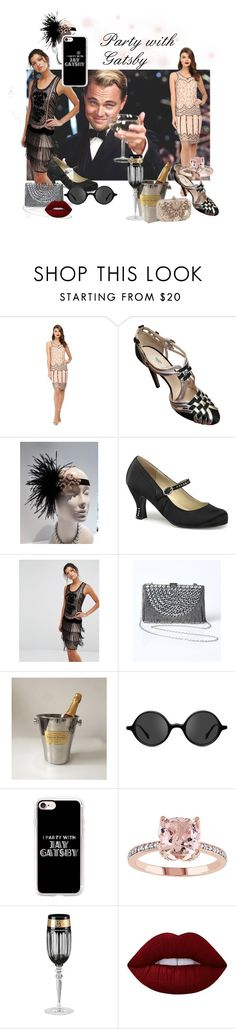 """""""Party with Gatsby"""" by mariannemerceria ❤ liked on Polyvore featuring Gatsby, Unique Vintage, Prada, Funtasma, Frock and Frill, Muse, Casetify, Versace, Lime Crime and gatsby"""