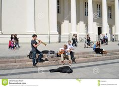 Students Play Pipe Guitar. Street Music Day Editorial Stock Image ...