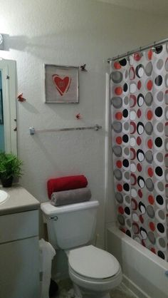 Gray Black And Red Bathroom Bathroom Ideas Bathroom