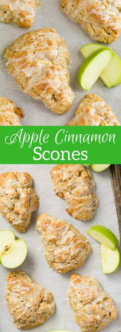 Light as air and crumbly, these apple cinnamon scones are packed with chunks of apple and spicy cinnamon. #apple #cinnamon #scones #breakfast