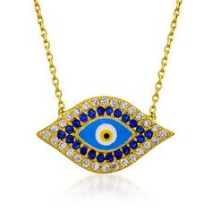 Good-looking good-luck charm, evil eye necklace. Embellished with blue and white CZ. Click the eye to find more CZ jewelry.