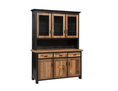 Amish Reclaimed Barnwood Manchester Hutch If you love barnwood, the Manchester Hutch offers a masterpiece to satisfy storage needs.made Imagine the rich colors of reclaimed wood in your dining room. Customizable with choice of door style, back style, hardware and more.