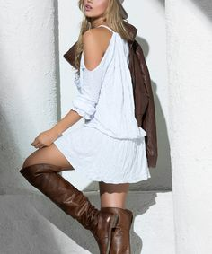 White Off-Shoulder Blouson Dress
