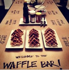 breakfast brunch buffet party ..... that's an idea ... LABEL THINGS on craft paper tablecloth