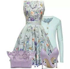 Flowered patterend dress matched with Lilac colored pumps and bag.