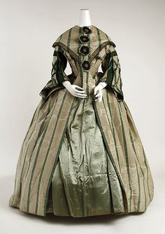 fternoon dress    Date:      1858–63  Culture:      American or European  Medium:      silk  Dimensions:      Length at CB (a): 14 1/4 in. (36.2 cm) Length at CB ((b) about): 50 in. (127 cm) Length at CB (c): 22 1/2 in. (57.2 cm)