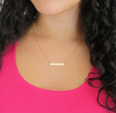Gold Bar Necklace, Customized Nameplate Necklace, Personalized Bar Necklace in Gold, Silver or Rose Gold. This necklace features a GF, Short Necklace, Simple Necklace, Simple Jewelry, Silver Bar Necklace, Pendant Necklace, Key Necklace, Gold Fashion, Fashion Jewelry, Fashion Women