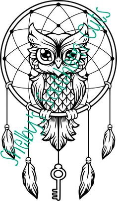 Owl dream catcher drawing 6 for native american mandala coloring Owl Dream Catcher, Dream Catcher Tattoo, Dream Catcher Drawing, Dream Catcher Painting, Dream Catcher Clipart, Dream Catcher Mandala, Dream Drawing, Owl Coloring Pages, Coloring Books