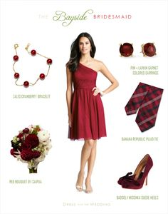 Cranberry red bridesmaid dress with red accessories for a winter or holiday wedding theme. Cranberry Bridesmaid Dresses, Summer Bridesmaid Dresses, Bridesmaid Flowers, Colored Wedding Dresses, Wedding Colors, Cranberry Wedding, Cranberry Dress, Burgundy Wedding, Fall Wedding