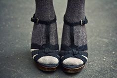 Gorgeous shoe/sock combo from Eleonore Bridge (blogged on Creature Comforts…