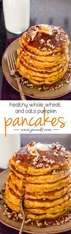 Healthy Whole Wheat and Oats Pumpkin Pancakes (pumpkin desserts, pumpkin breakfast, pumpkin recipes)