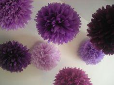 Mixed Up Purples ... 10 tissue paper poms // wedding decorations // diy // anniversary // graduation // bat mitzvah // party decorations