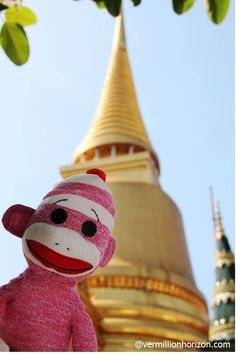 Lil' Squirt amid the glitz and gold of the Grand Palace (Bangkok, Thailand)