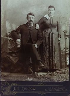 Virgil and Alvira Earp on a cabinet card. Original image from the collection of P. Wyatt Earp Tombstone, Tombstone Arizona, Virgil Earp, Old West Photos, Doc Holliday, Wild West, Historical Photos, Original Image, Butler