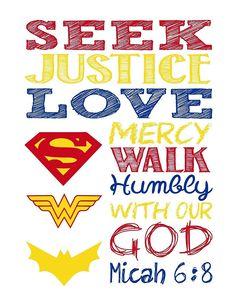 Superhero Set of 4 - Christian Wall Art Print - Supergirl, Batgirl, Wonder Woman - Bible Verse Nursery, Playroom or Kids Room Decor - Multiple Sizes