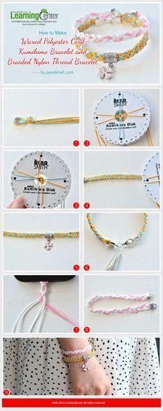 How to Make Waxed Polyester Cord Kumihimo Bracelet and Braided Nylon Thread Bracelet Kumihimo Bracelet, Bracelet Fil, Bracelet Crafts, Bracelet Making, Jewelry Crafts, Bracelets Liberty, Thread Bracelets, Handmade Bracelets, Handmade Jewelry