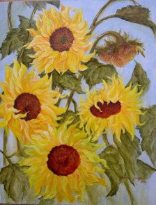 SUNFLOWERS is an original acrylic painting of a group of Sunflowers, bellowing in a summer breeze, evoking a sense of summer happiness.    It is painted on a Maosonite panel measuring 20x 16      Ship within 3 business upon receipt of payment.    All paintings Copy Right Priscilla George  priscillageorgeart.com