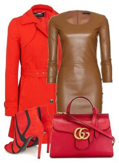 """Red coat with brown leather dress"" by fashionrushs ❤ liked on Polyvore featuring The Row, Balenciaga, Gucci and plus size clothing"