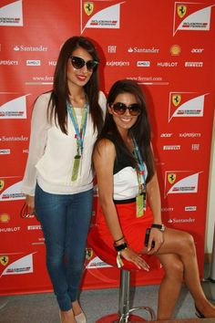 Actor #GeetaBasra with her sister at the #IndianF1 Grand Prix in Delhi
