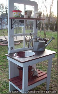 Potting Bench Ideas: upcycled door potting bench from Confessions of a Curbshopaholic