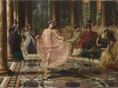 A painting by Sir Edward John Poynter entitled The Ionian Dance, thought lost for the last century, has been rediscovered, and is set to auction at Bonhams on July 10.