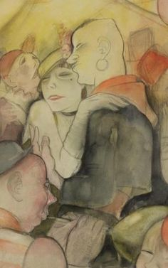 By Jeanne Mammen (1890–1976), c. 1930, Carnival in Berlin N III (Fasching Berlin N III), Watercolor and pencil on paper. (detail)