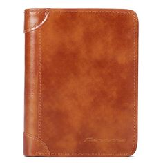 Men RFID Blocking Secure Wallet Fashion Vintage Purses Genuine Leather Tri-fold Wallet Short Wallet Minimalist Wallet, Rfid Wallet, Vintage Purses, Goods And Service Tax, Things To Buy, Tri Fold, Leather Wallet, Vintage Fashion, Bags