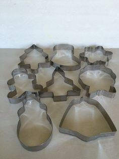 Cookie Cutters Set of 8 Metal Christmas Holiday Cookie Cutters  #Unbranded