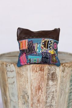 677de386f6 Vintage Patchwork Leather Denim Clutch SO cute! Buy at  www.Threebirdnest.com Borsetta