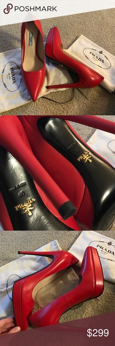Prada Red Pumps We some red pumps. Barely worn! No scuffs or marks. Size 40 (best for a 9... a little tight on me) Prada Shoes Platforms