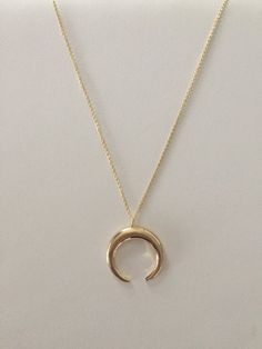 Gold Double Horn / Crescent Moon Necklace