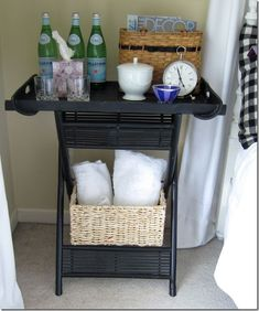 Could I pair the magazine rack with a tray table to make a sturdy table? Idea from 5 Different, Fun Ways To Use TV Trays