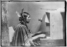 "Female Indian telephone switchboard operator - ""Helen of Many Glacier Hotel."", 26 June 1925"