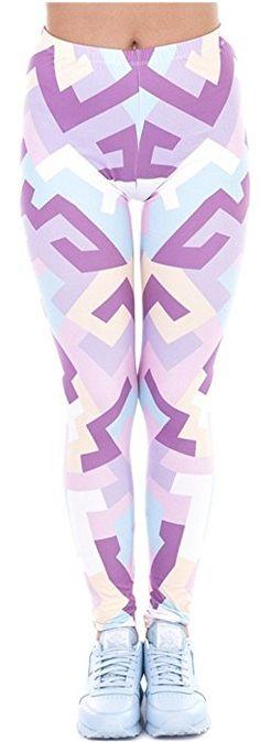 63d8984f0 Ndoobiy Printed Leggings Basic Cheap Patterned Women Girls Spandex Yoga Leggings  Tights-Double C