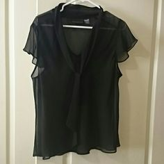 Sheer black top Has a tie below neck super cute! attention  Tops