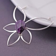 lotus blossom jewelry | Purple Lotus Blossom Necklace